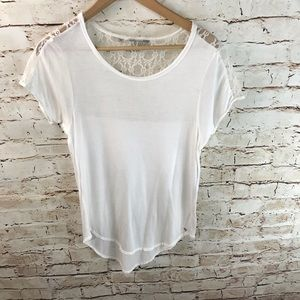Guess Scooped Lace Shoulder Tee Shirt